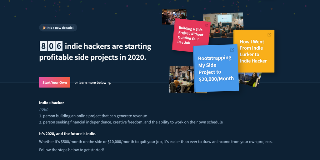 Become an Indie Hacker - The ultimate resource for starting profitable side projects | Product Hunt