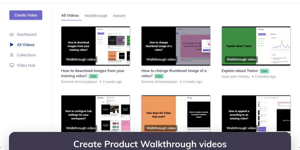 Trainn - A new way to create professional product walkthrough videos | Product Hunt