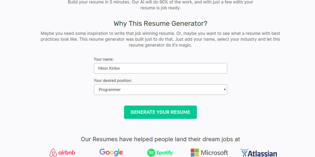 Ai Resume Generator Free Tool That Writes A Resume For You