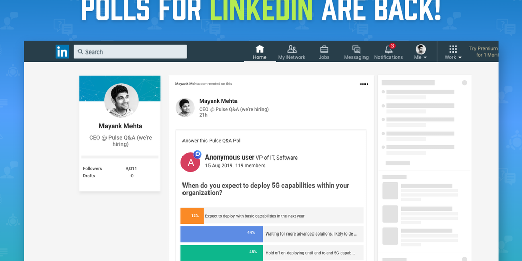 Polls for LinkedIn - Create, view, and answer polls on