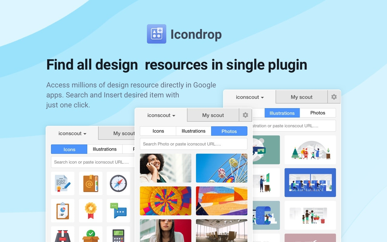 Icondrop 2.0 - Insert Icons, Illustrations & Stock photos inside your tool