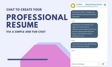 Create A Professional Resume | Cv Bot Chat To Create Your Professional Cv Resume