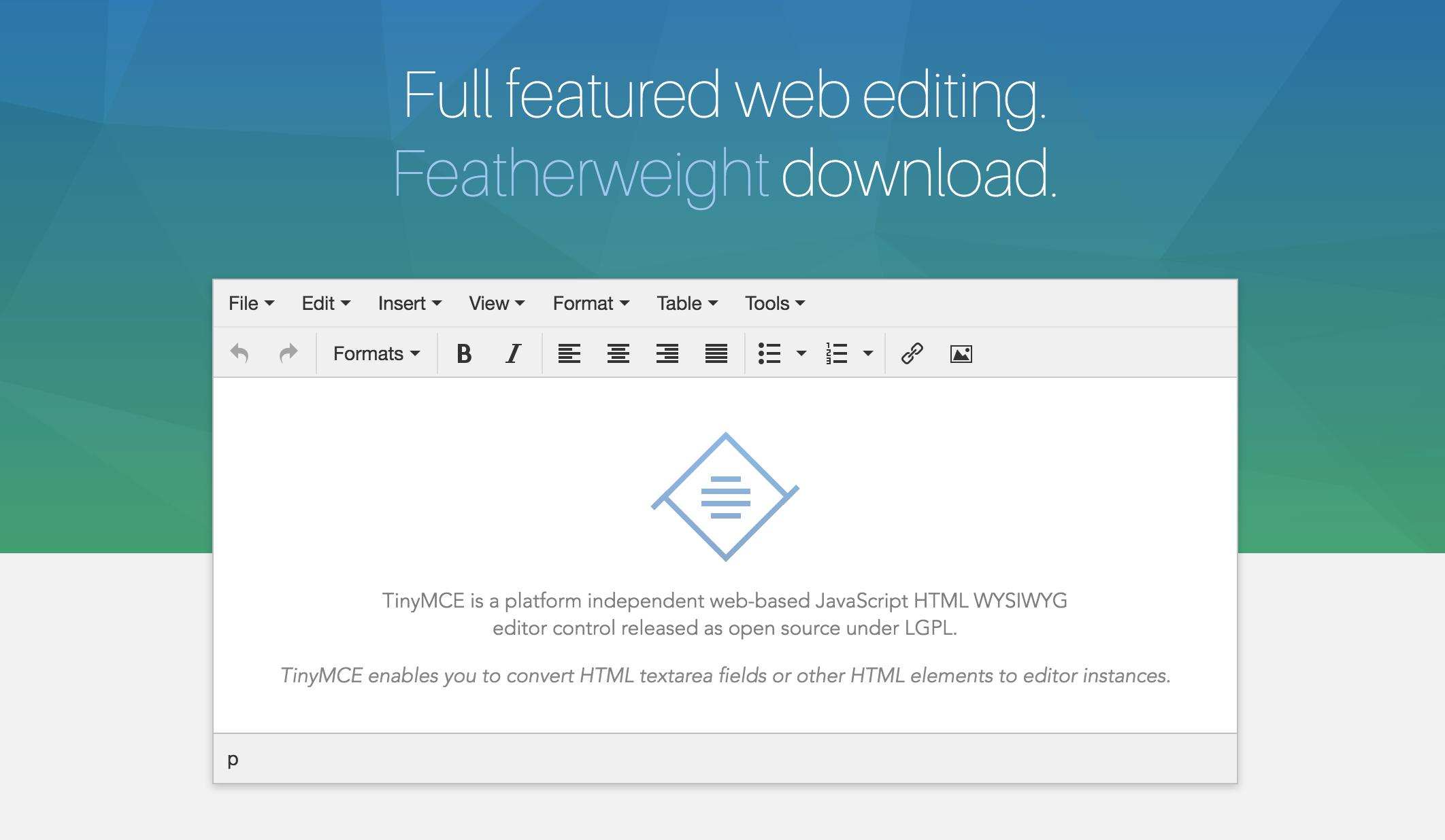 TinyMCE   Full featured web based JavaScript WYSIWYG HTML Editor ...