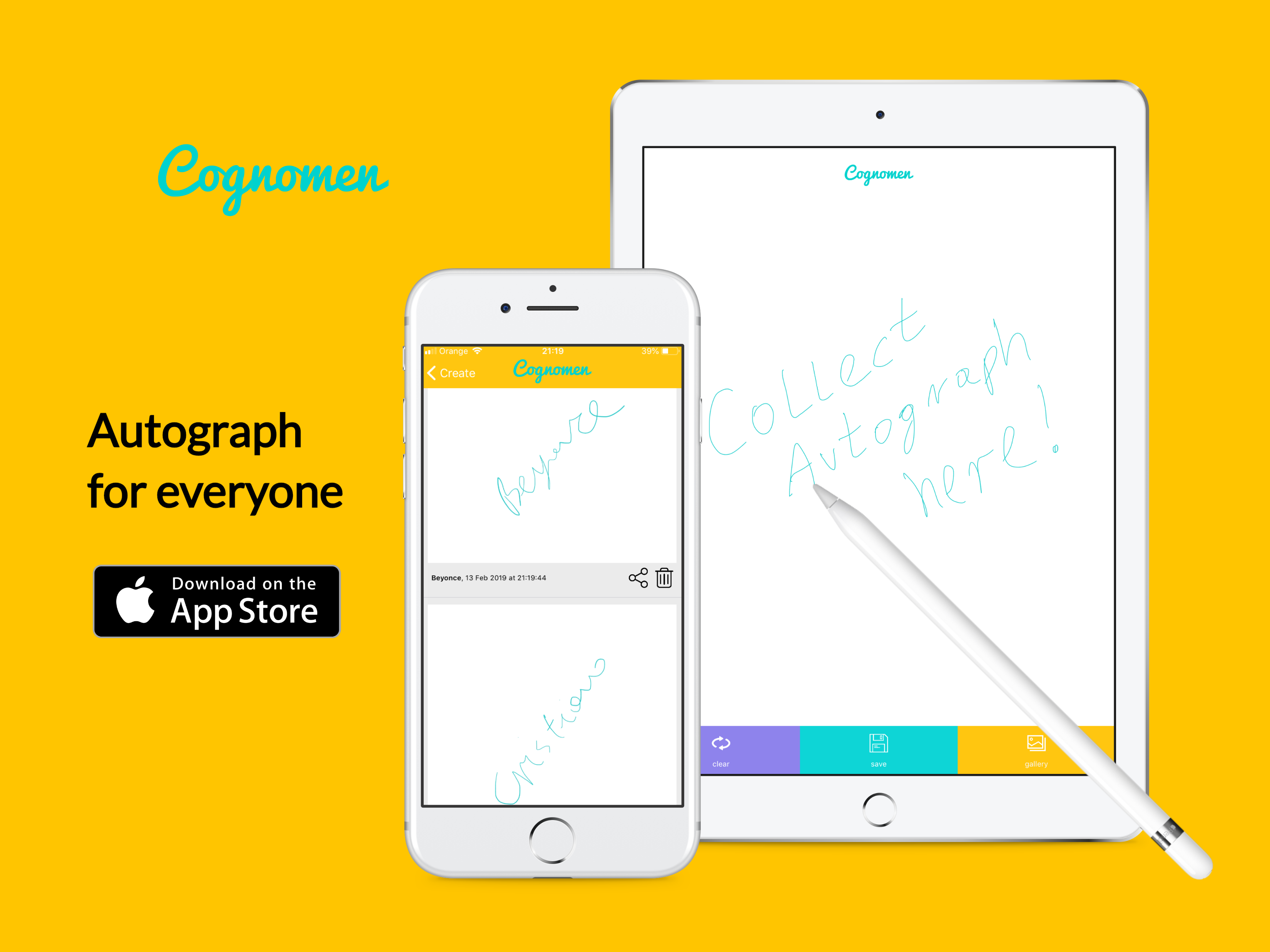 Cognomen - Collect autographs on iPhone and iPad using finger or stylus