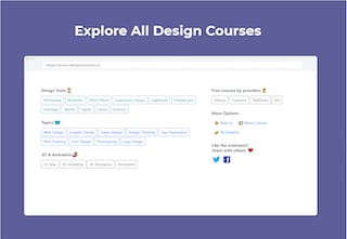 Design Courses Tab - Discover free design courses in your