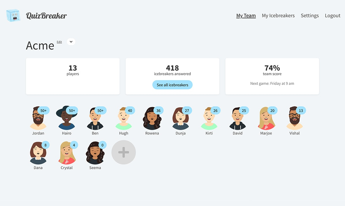 QuizBreaker - A fun online quiz game for teams to get to know each other