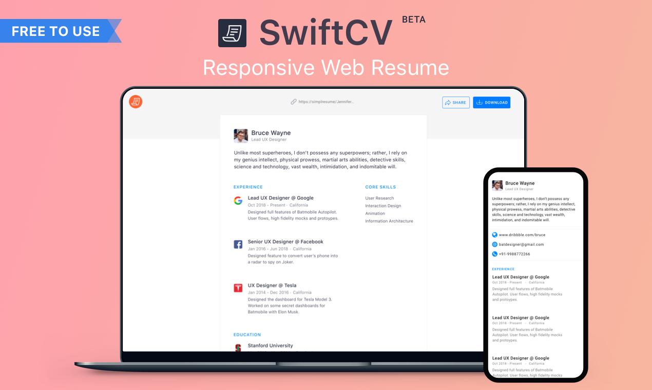 SwiftCV - Create beautiful & responsive web resumes in minutes