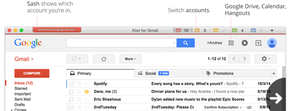 Kiwi for Gmail - The only true email client for Gmail on Mac