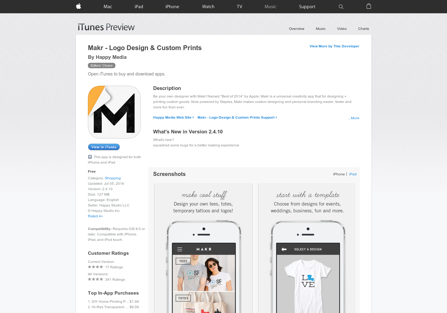Makr Marketplace + iPhone - An app for designing + printing