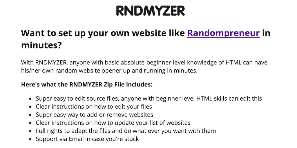 RNDMYZER - Create your own branded random website generator
