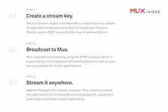 Mux Live Streaming API - A simple API to powerful live video