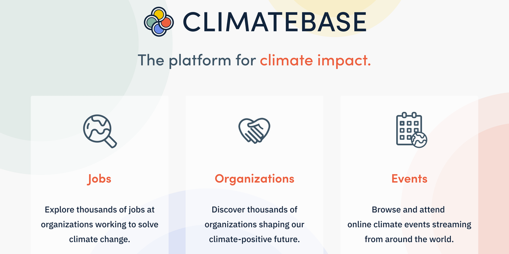 Climatebase 🌎 - Discover climate tech jobs, organizations, & events 🌎   Product Hunt
