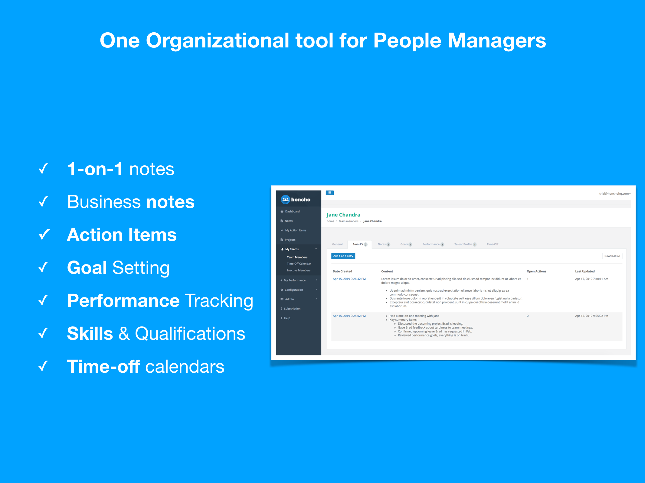 Honcho - An organizational tool built for managers by managers