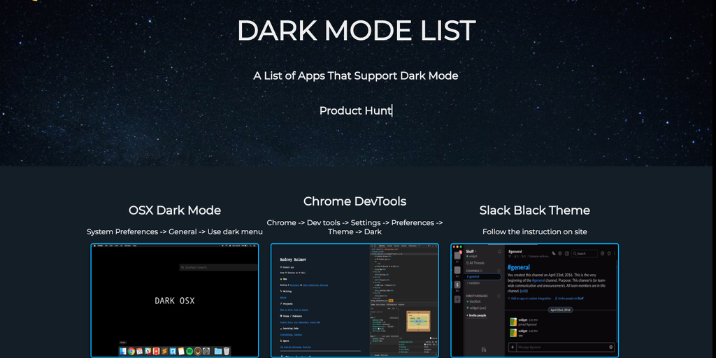 dark mode list a list of apps that support dark mode product hunt