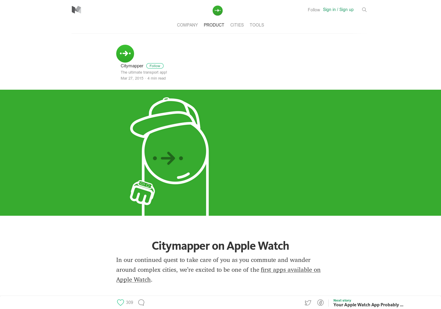 Citymapper for AppleWatch - One of the best public transit