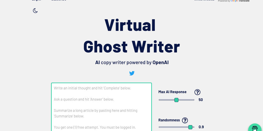 Virtual Ghost Writer - AI copy writer powered by OpenAI | Product Hunt