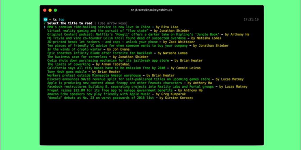 TechCrunch CLI - A command line Interface for reading TechCrunch articles | Product Hunt