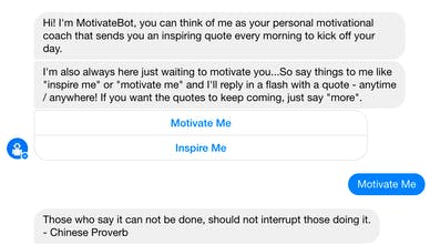 MotivateBot - Messenger bot sending inspiring quotes daily and on