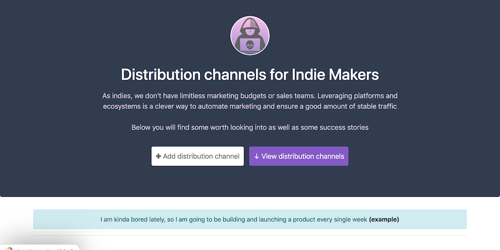 Indie Channels - Distribution channels and marketplaces for makers | Product Hunt