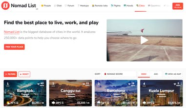 Nomad List 3 0 - Find the best place to ❤️ live, 👩 💻 work, and