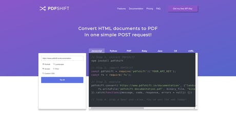 PDFShift - Convert any HTML to PDF with a single POST