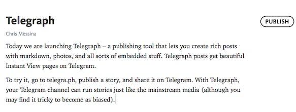 Telegraph - Telegram's answer to Medium | Product Hunt