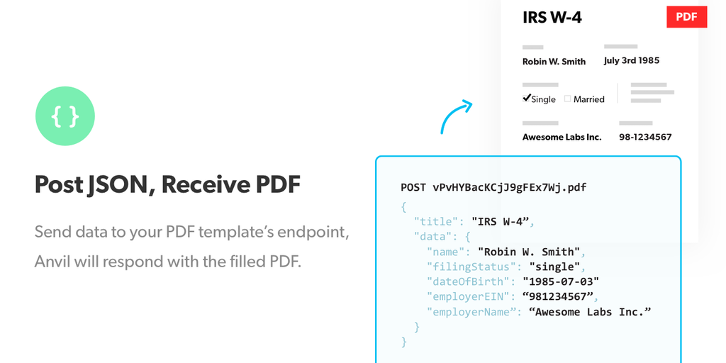 Anvil PDF Filling API - The easiest way to programmatically populate any PDF | Product Hunt