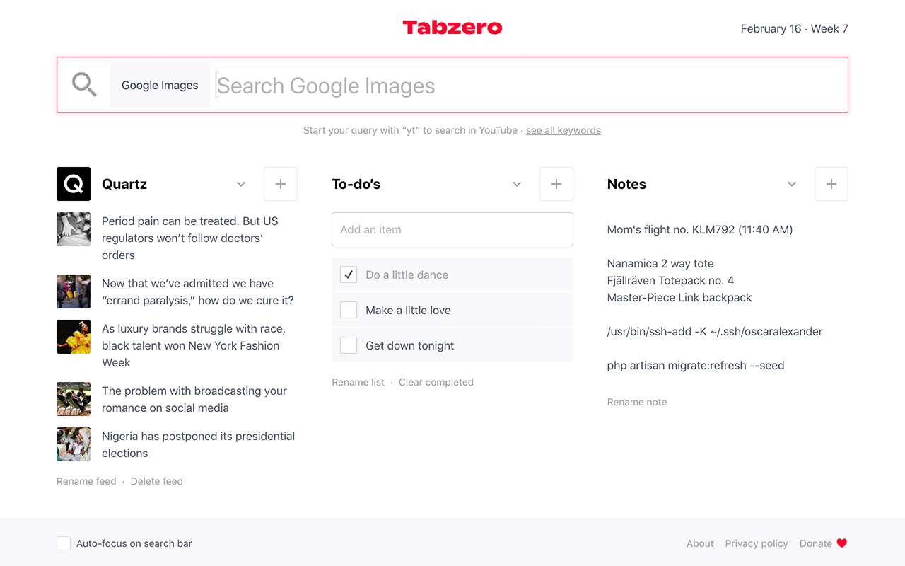 Tabzero - A Chrome extension for a start page that gets you going