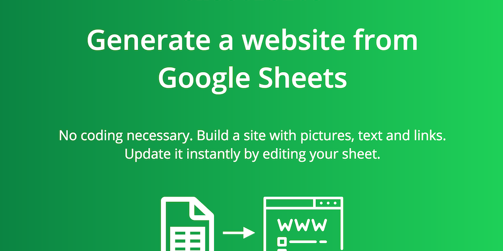 Sheet 2 Site - Generate a website from 📗 Google Sheets