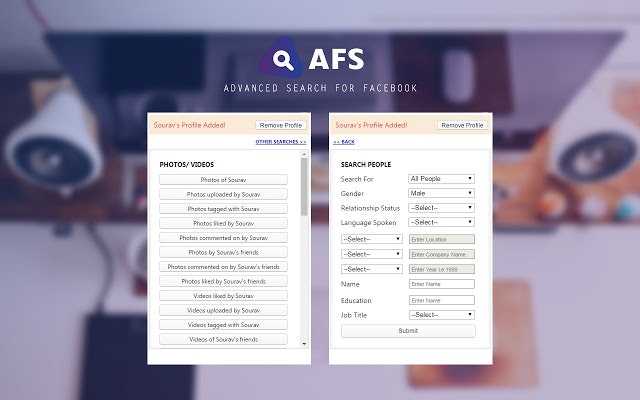 AFS (Advanced Facebook Search) - Find stories, connections and