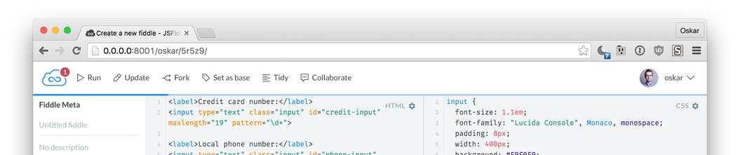 JSFiddle - Test and share JavaScript, CSS, HTML or CoffeeScript