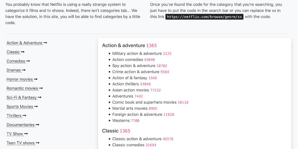 Netflix categories codes - Find hidden Netflix categories by