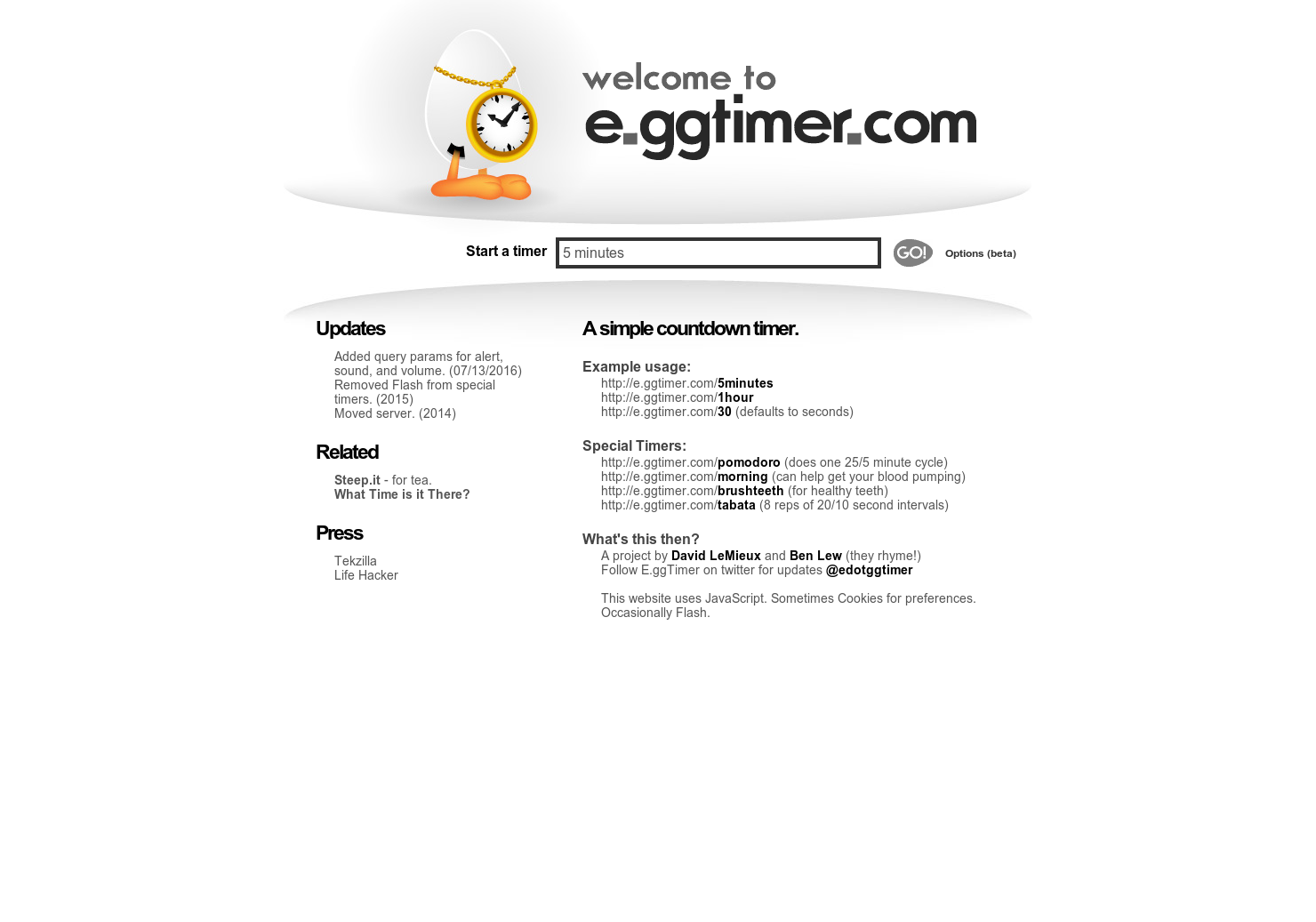 E ggtimer com - A simple countdown timer with an alarm for