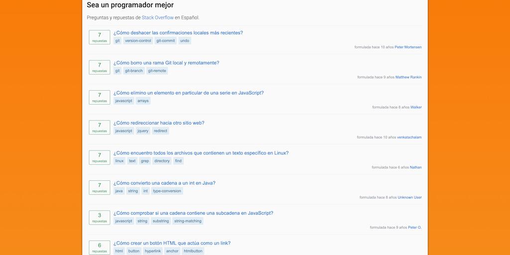 Pregunta Repuesta - Browse Stack Overflow in Spanish 🇪🇸 | Product Hunt
