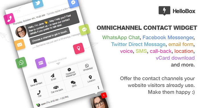 HelloBox 2.0 - All your socials in one omni-channel contact widget