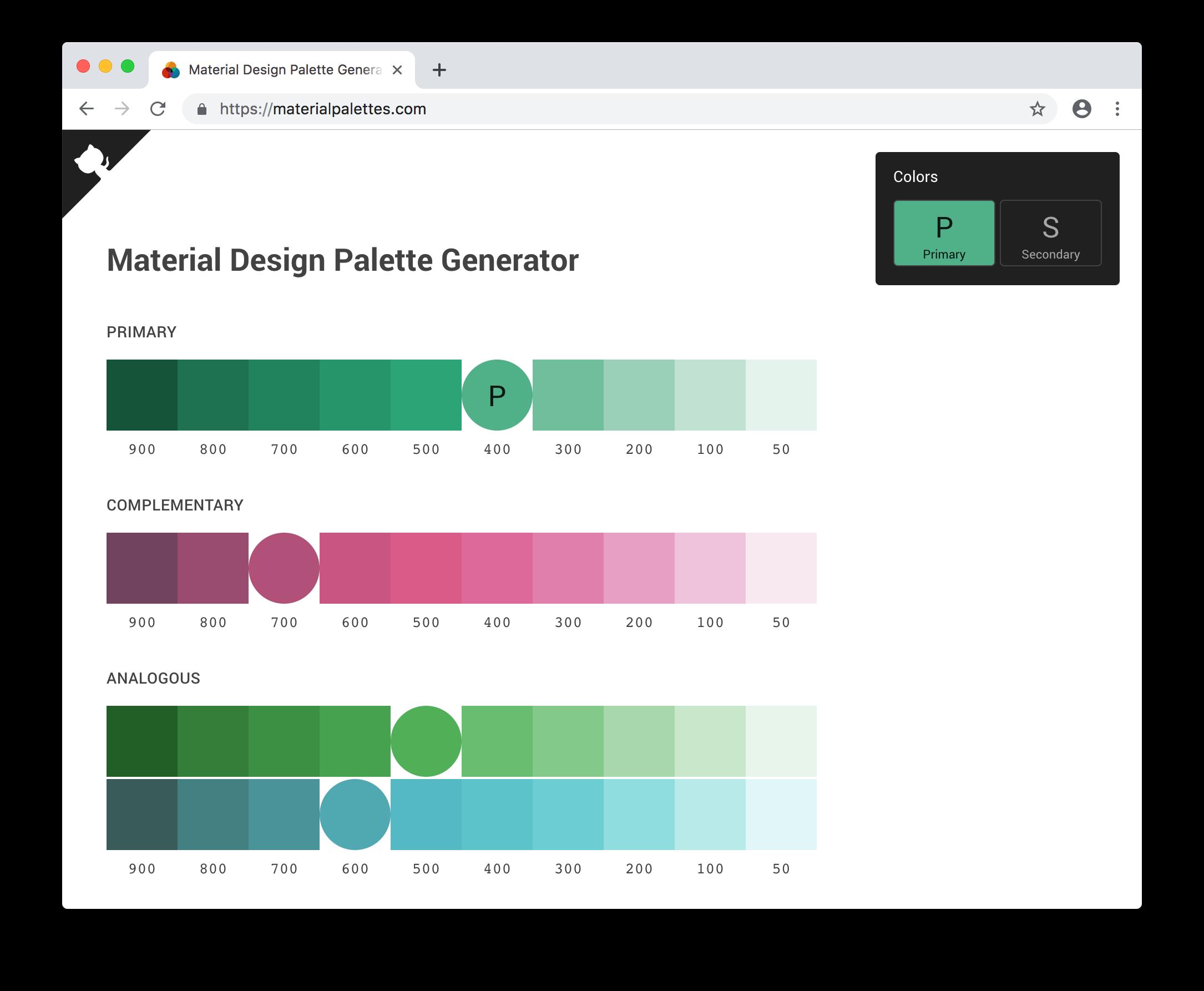 Material Design Palette Generator - Get perfect Material Design palettes from any hex color