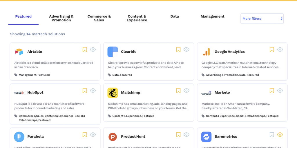 Martechbase - A searchable database of 7,000+ marketing tools | Product Hunt