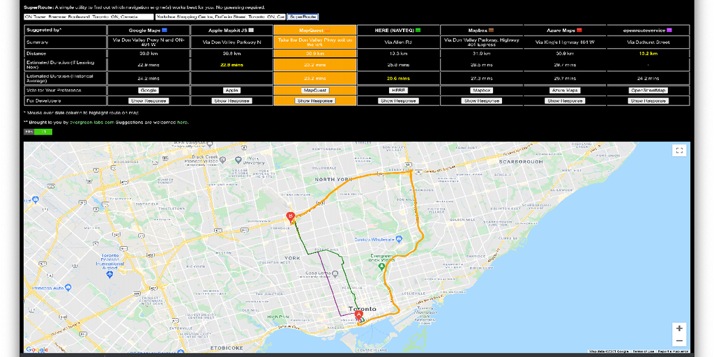 SuperRoute - Compare routes generated by Google,Apple,MapQuest,Mapbox,etc | Product Hunt