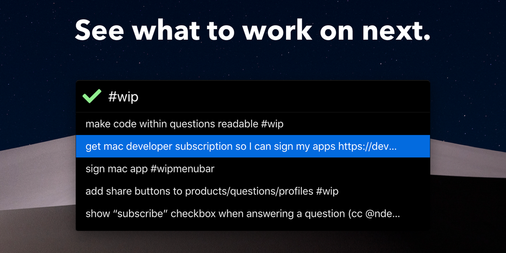 Menubar for WIP - Log your todos with just a keyboard shortcut   Product Hunt