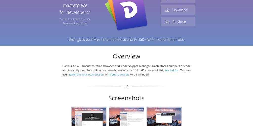 Dash - Instant offline access to 130+ API documentation sets