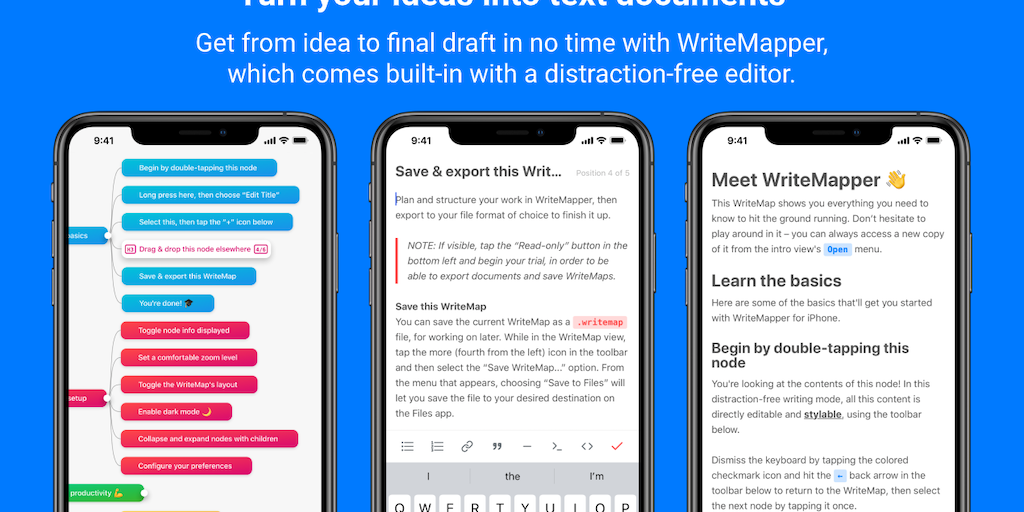 WriteMapper for iPhone - Get from idea to final draft in no time with mind maps | Product Hunt