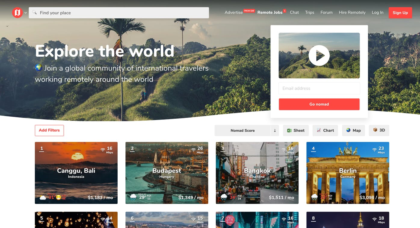 Nomad List 5 0 - Explore the world and work remotely