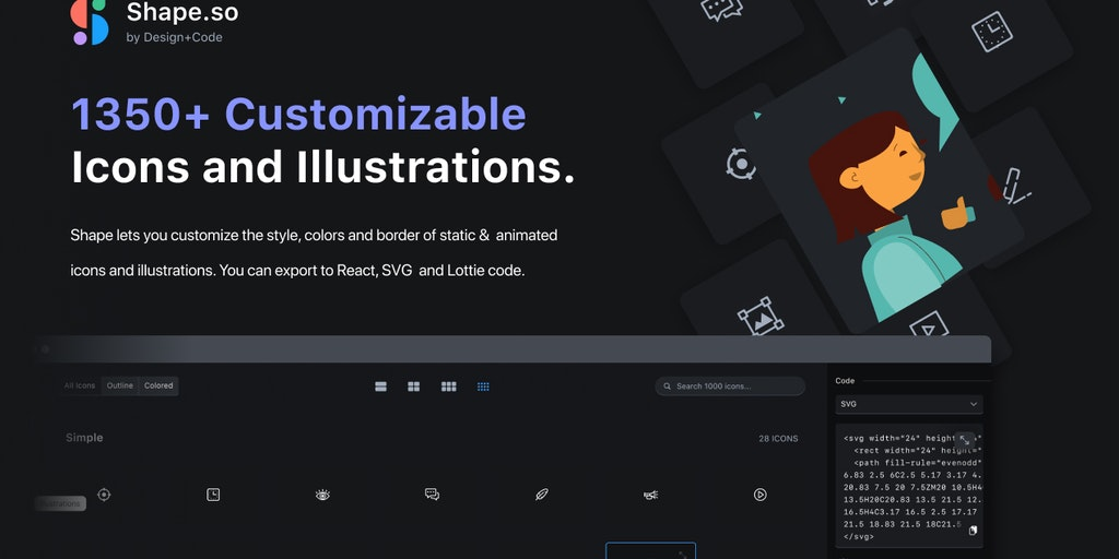 Shape.so - 1350+ icons, illustrations exportable to SVG, React & Lottie | Product Hunt