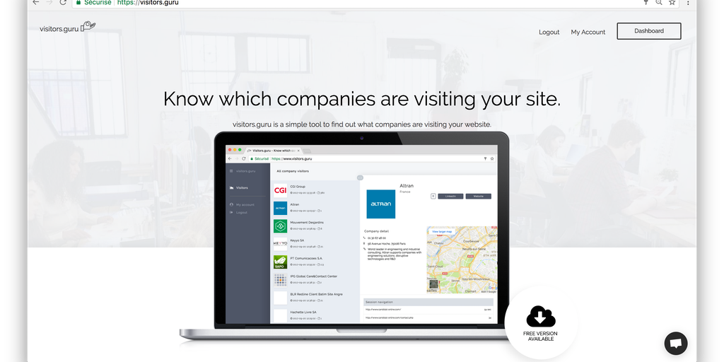 Visitors guru - Discover which companies are visiting your