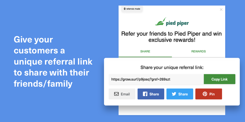 GrowSurf 2.0 - Create a custom refer-a-friend program for your site | Product Hunt