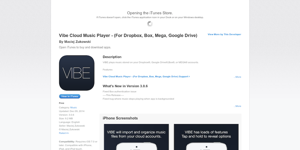 Vibe - Music Player for your songs in Dropbox, Google Drive or Mega