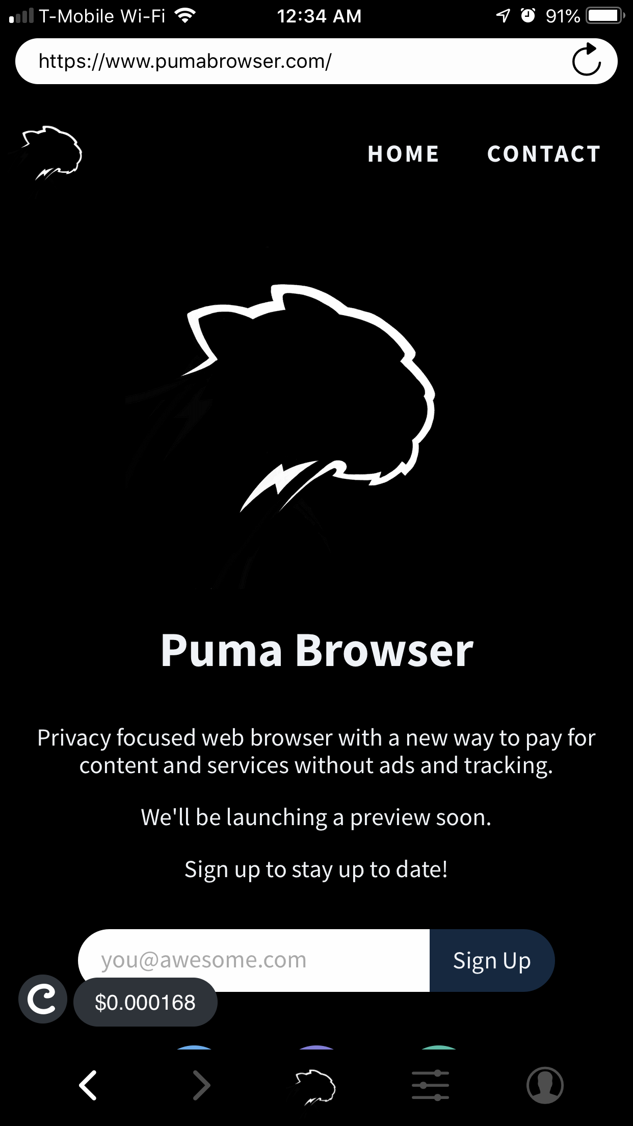 Puma Browser (Developer Preview) - Privacy focused browser with a new way to pay for content