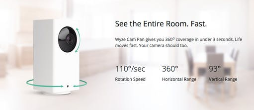 Wyze Cam Pan - 360 degree smart cam coverage for $30