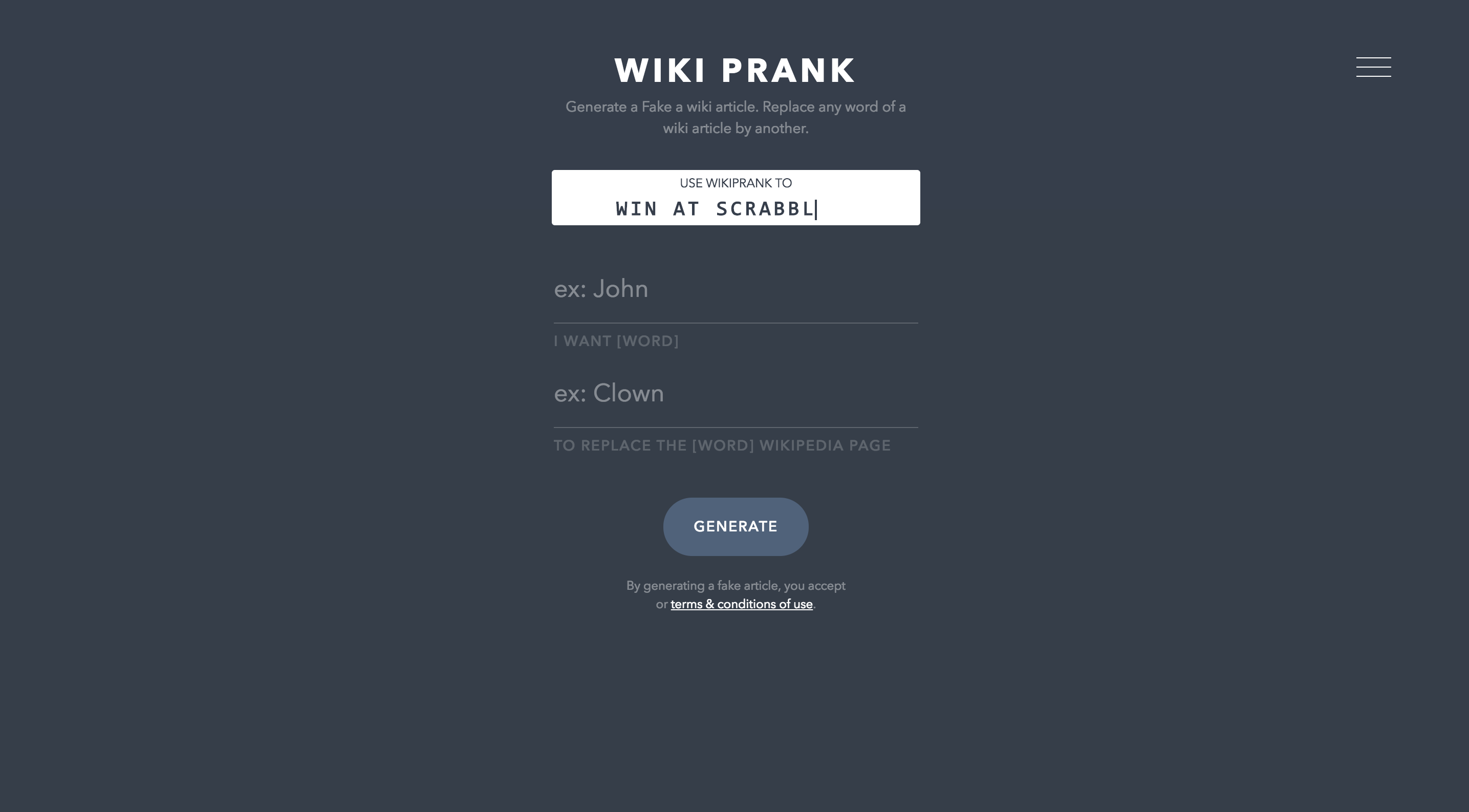 WikiPrank - Prank your friends with fake wiki articles